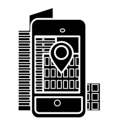 augmented reality - smartphone city icon vector image