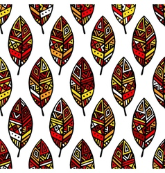 Autumn colored ethic mexican leaf seamless pattern vector image