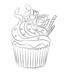 Cartoon image of cupcake vector