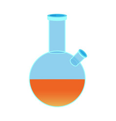 Chemical flask with two holes orange liquid vector