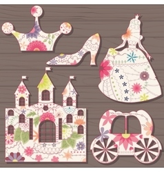 Cinderella decorations vintage on wooden vector image vector image