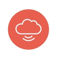 Cloud with wifi symbol thin line icon vector image
