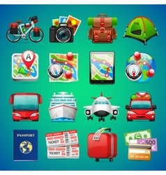 Colorful travel icons vector