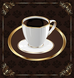 Cute ornate vintage wrapping for coffee coffee cup vector image vector image