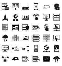 file database icons set simple style vector image vector image
