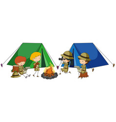 Four kids camping out vector