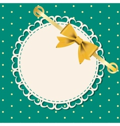 greeting card with frame and bow Space for your vector image vector image
