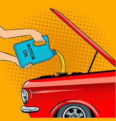Hands poured motor oil pop art vector