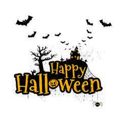 happy halloween typography scary horror vector image