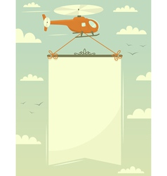 Helicopter with banner vector