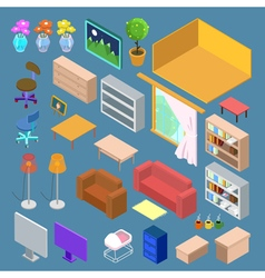 Isometric furniture isometric living room planning vector