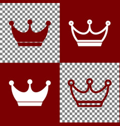 King crown sign bordo and white icons and vector