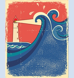 Lighthouse posterSeascape background vector image
