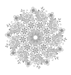 Mendie Mandala with flowers and leaves Zenart vector image