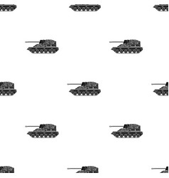 Military tank icon in black style isolated on vector