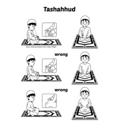 Muslim prayer guide tashahhud position outline vector