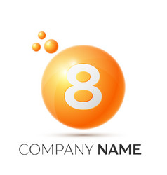 Number eight splash logo orange dots and bubbles vector