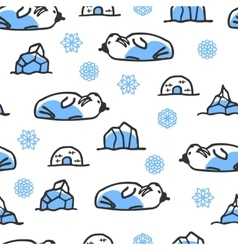 Seamless pattern with cute doodle walrus vector