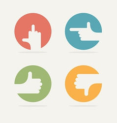 Set icon hand gestures good bad left vector