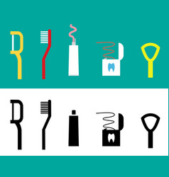 Set of dental care tool flat icon vector