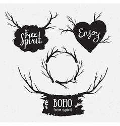 Set of rustic logo elements hand drawn hipster vector