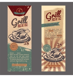 Set with vintage retro banner with chicken grill vector