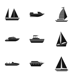 Ship icons set simple style vector