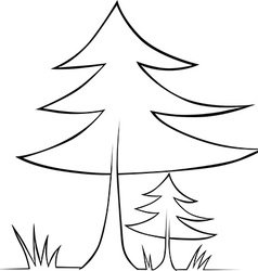 tree - black outline vector image vector image