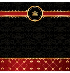 Vintage black background with golden ornamental vector image vector image