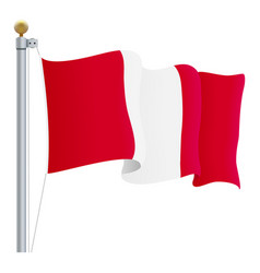 waving peru flag isolated on a white background vector image