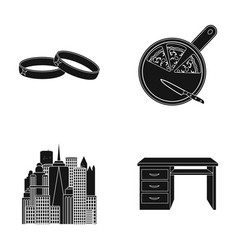 wedding rings pizza and other web icon in black vector image vector image
