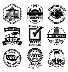 Vote and election labels set vector