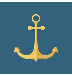 Gold anchor ship equipment vector