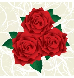 Red roses with green leafs vector image