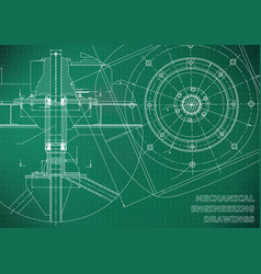 Mechanical engineering drawings green background vector