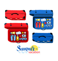 Top view collection of summer vacation suitcases vector