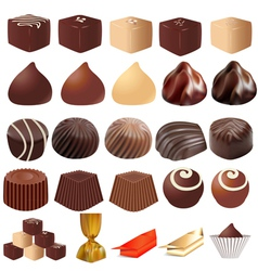 Assortment of different sweets vector