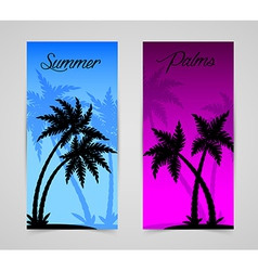 Palm silhouettes cards vector