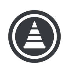 Round black traffic cone sign vector