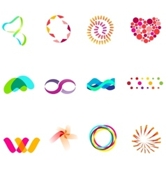 12 colorful symbols set 25 vector