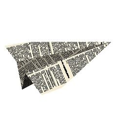 Paper plane aircraft from newspaper on white vector