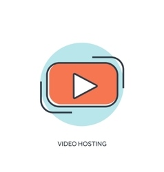 Flat lined play icon video hosting vector