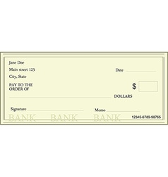 Blank bank check vector