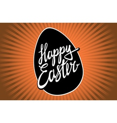 Happy easter lettering orange rays vintage vector