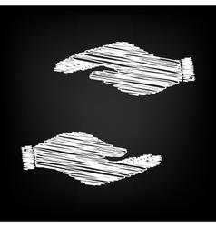 Hand sign scribble effect vector