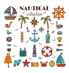 Hand drawn nautical collection sea and ocean vector