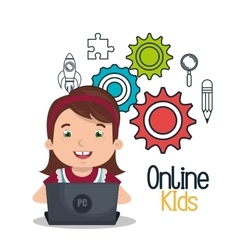 Girl studying online isolated icon design vector