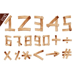 Old Grunge Wooden Alphabet number vector image