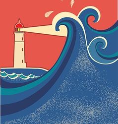 Lighthouse posterSeascape color background vector image