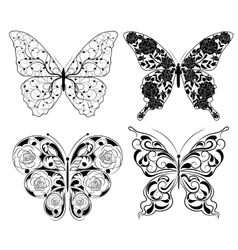 Abstract butterfly set vector image
